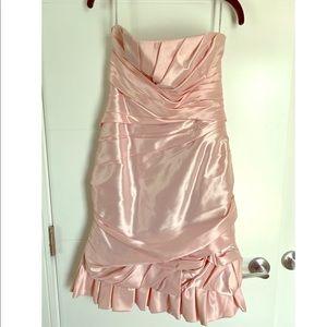 Strapless soft pink satin dress NWOT